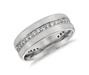 Brushed Diamond Eternity Men's Wedding Ring in Platinum