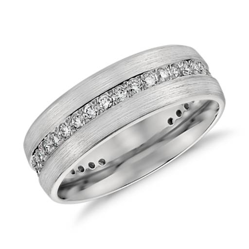 Brushed Diamond Eternity Men's Wedding Ring in Platinum (1/2 ct.tw.)