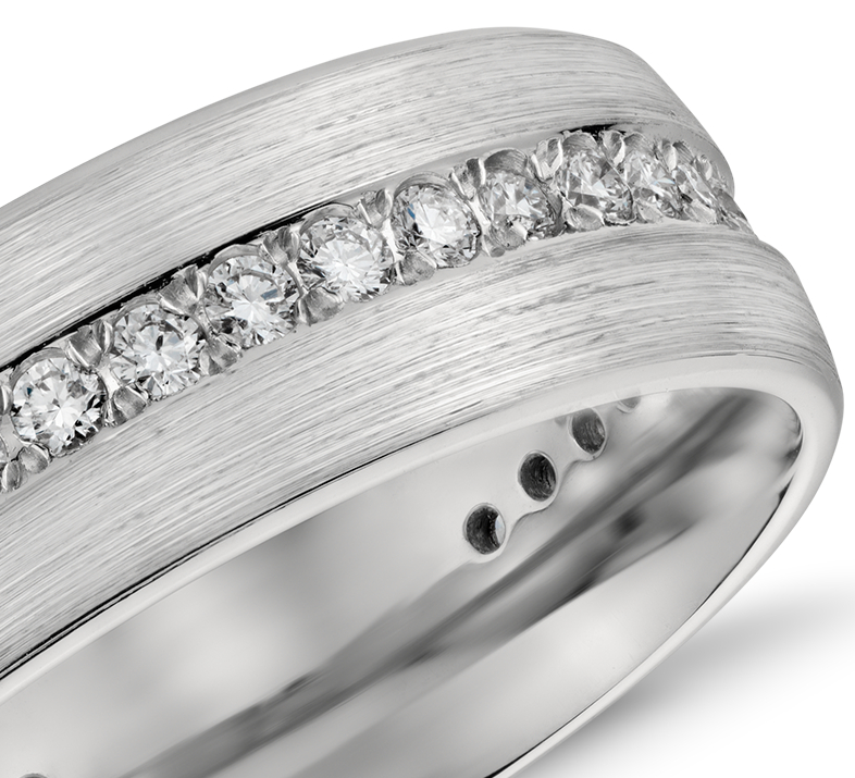 Brushed Diamond Eternity Men's Wedding Ring in Platinum (7mm)