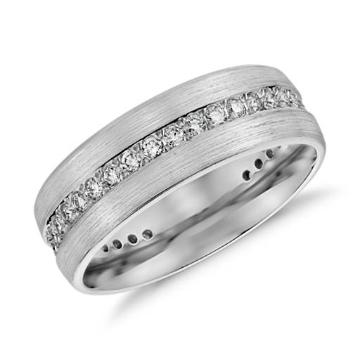 Brushed Diamond Eternity Men's Wedding Ring in 14k White Gold (1/2 ct.tw.)
