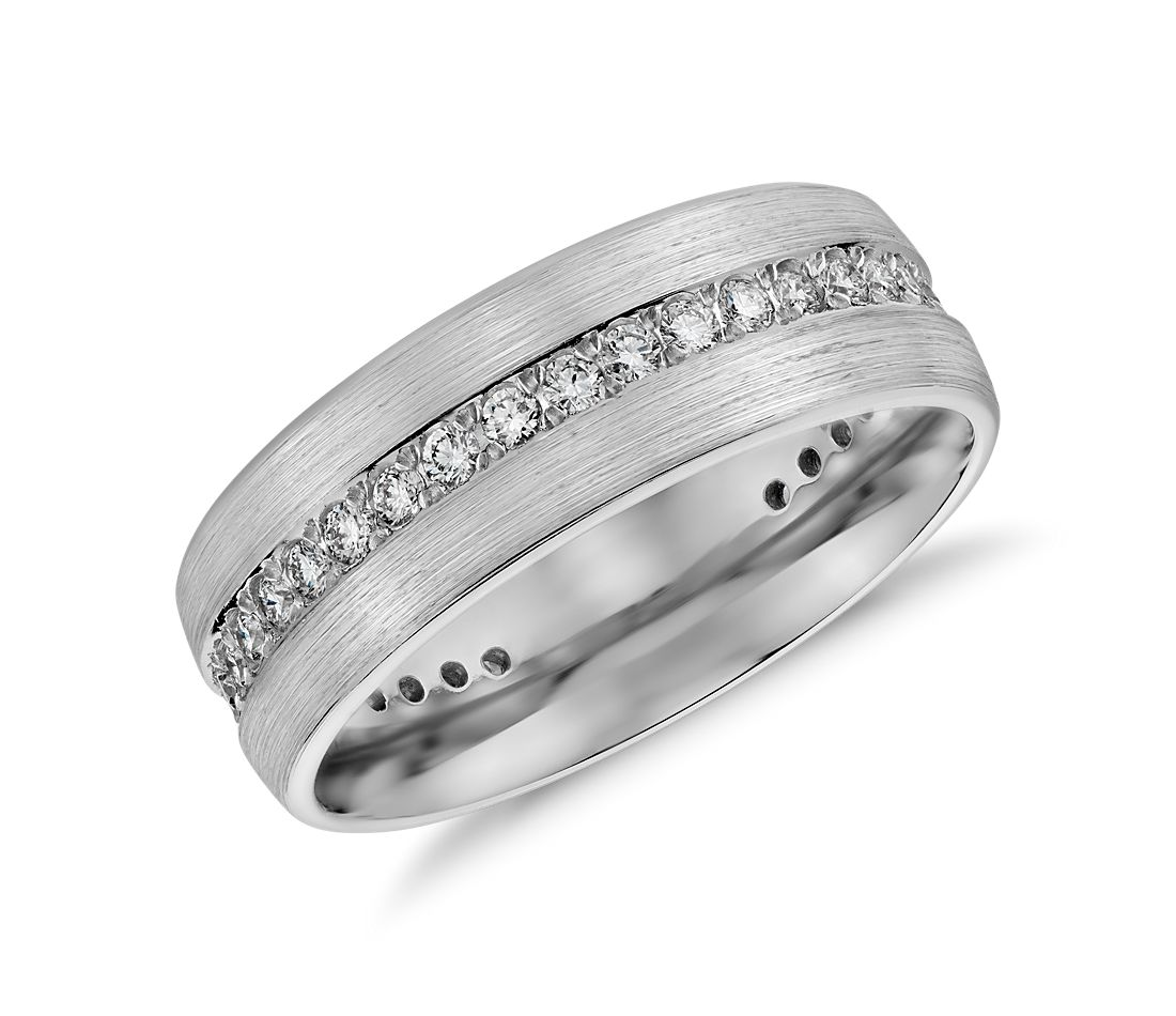 Brushed Diamond Eternity Men's Wedding Ring in 14K White Gold