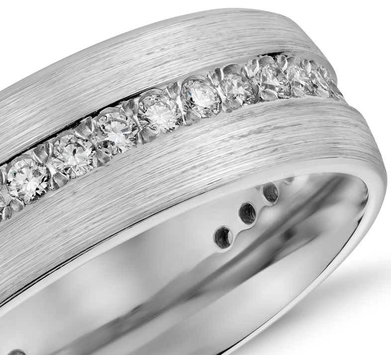 Brushed Diamond Eternity Men's Wedding Ring in 14K White Gold (7mm)
