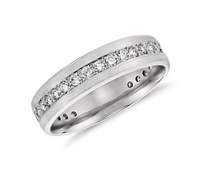 Brushed Diamond Eternity Women's Wedding Ring in Platinum