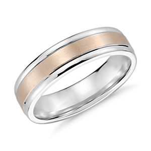 Alliance avec incrustation brossée en or Rose et or Blanc 14 carats (6 mm)