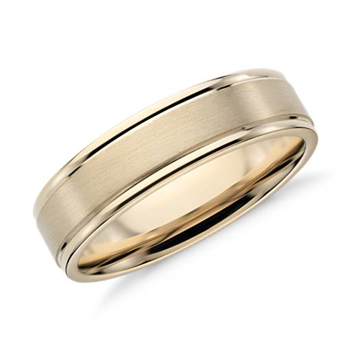 Brushed Inlay Wedding Ring in 14k Yellow Gold (6mm)