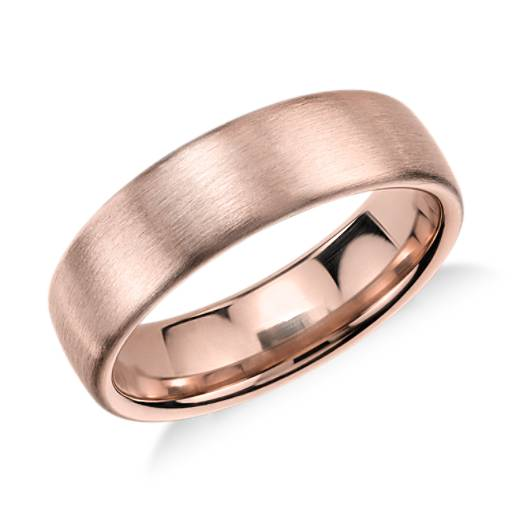 Matte Modern Comfort Fit Wedding Ring in 14k Rose Gold (5.5mm)