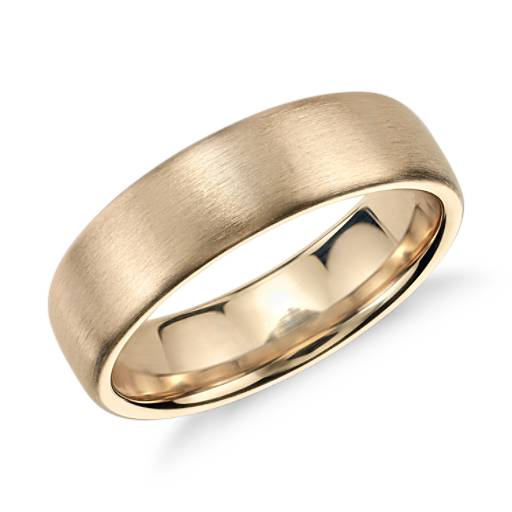 NEW Brushed Modern Comfort Fit Wedding Ring in 14k Yellow Gold (6.5mm)