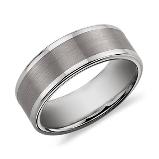 Brushed and Polished Comfort Fit Wedding Ring in Classic Gray Tungsten Carbide (8mm)