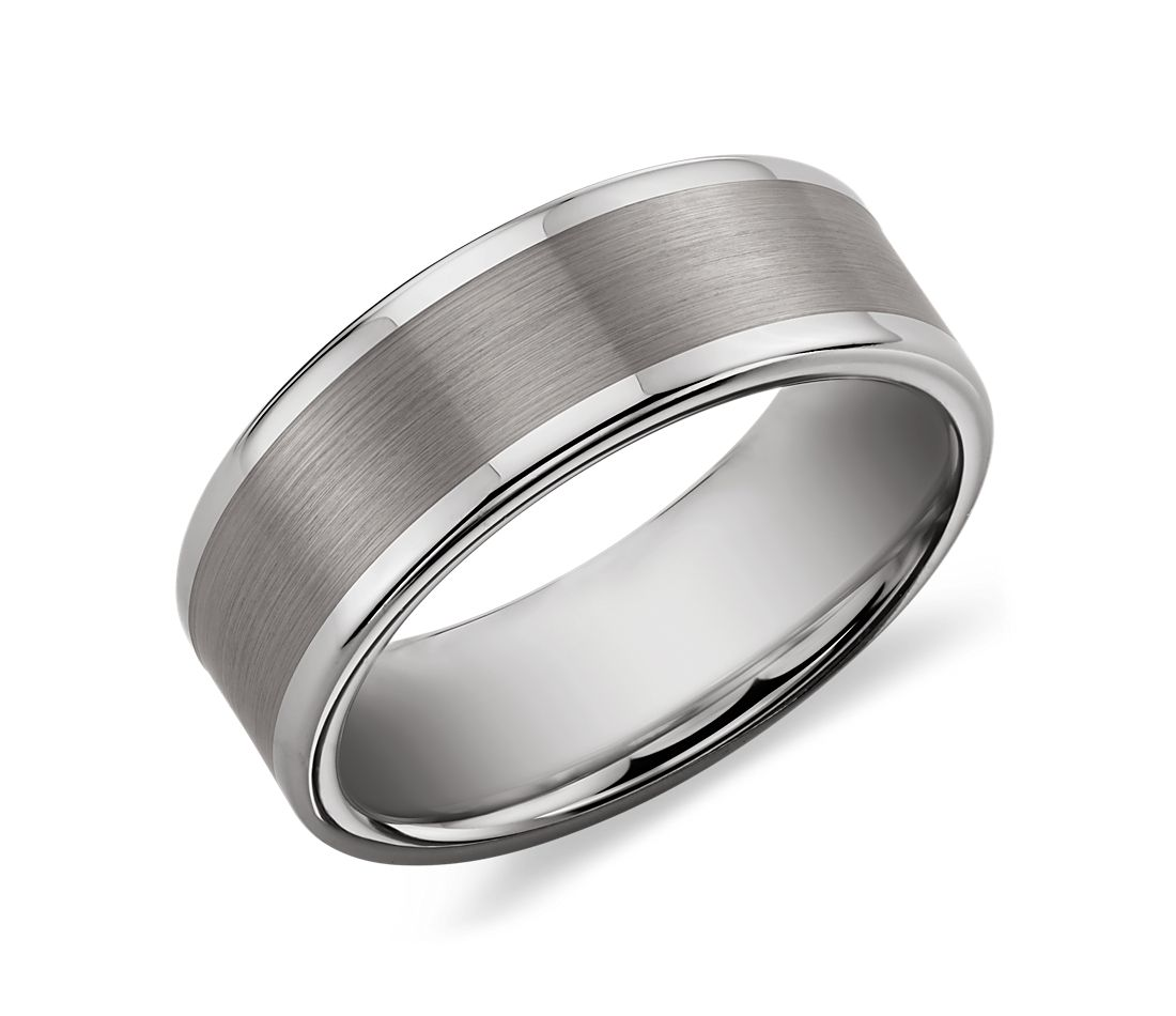 brushed and polished comfort fit wedding ring in classic