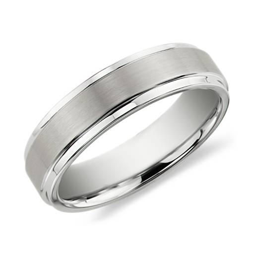 Brushed and Polished Comfort Fit Wedding Ring in White Tungsten Carbide (6mm)