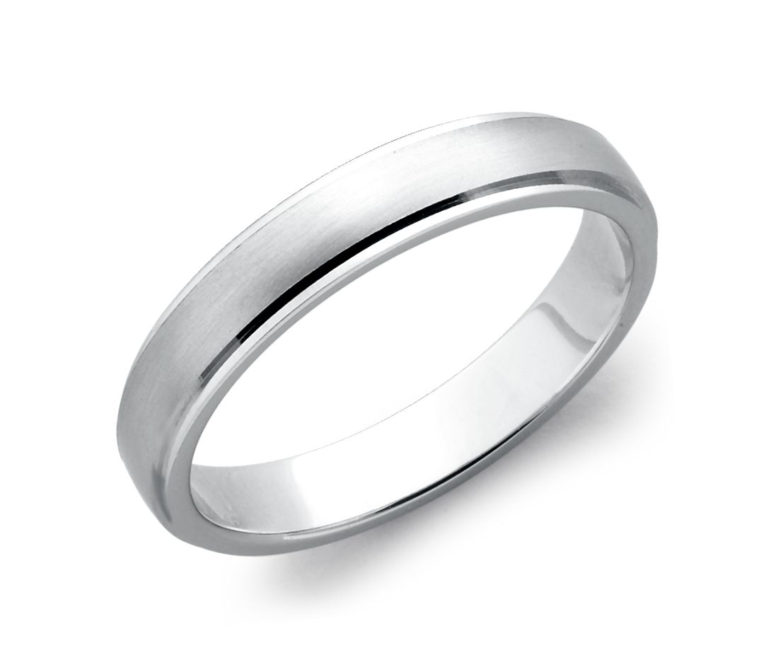brushed and polished wedding ring in 14k white gold 4mm