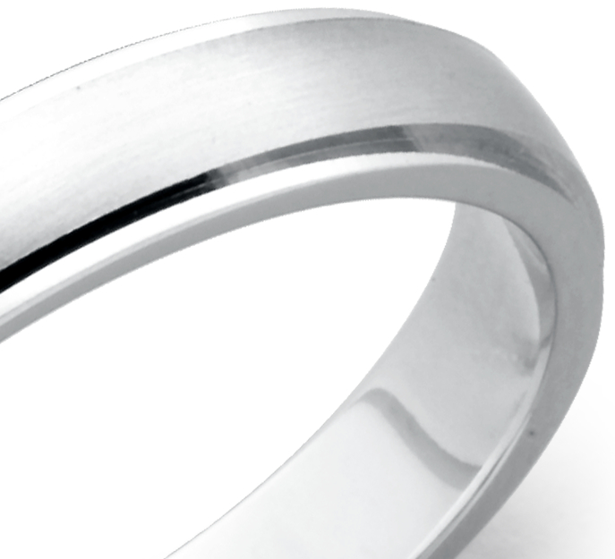 Brushed and Polished Wedding Ring in 14k White Gold (4mm)