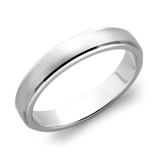 Brushed and Polished Wedding Ring in Platinum (4mm)