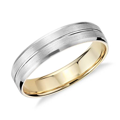 Matte Inlay Wedding Ring In Platinum And 18k Rose Gold 6mm