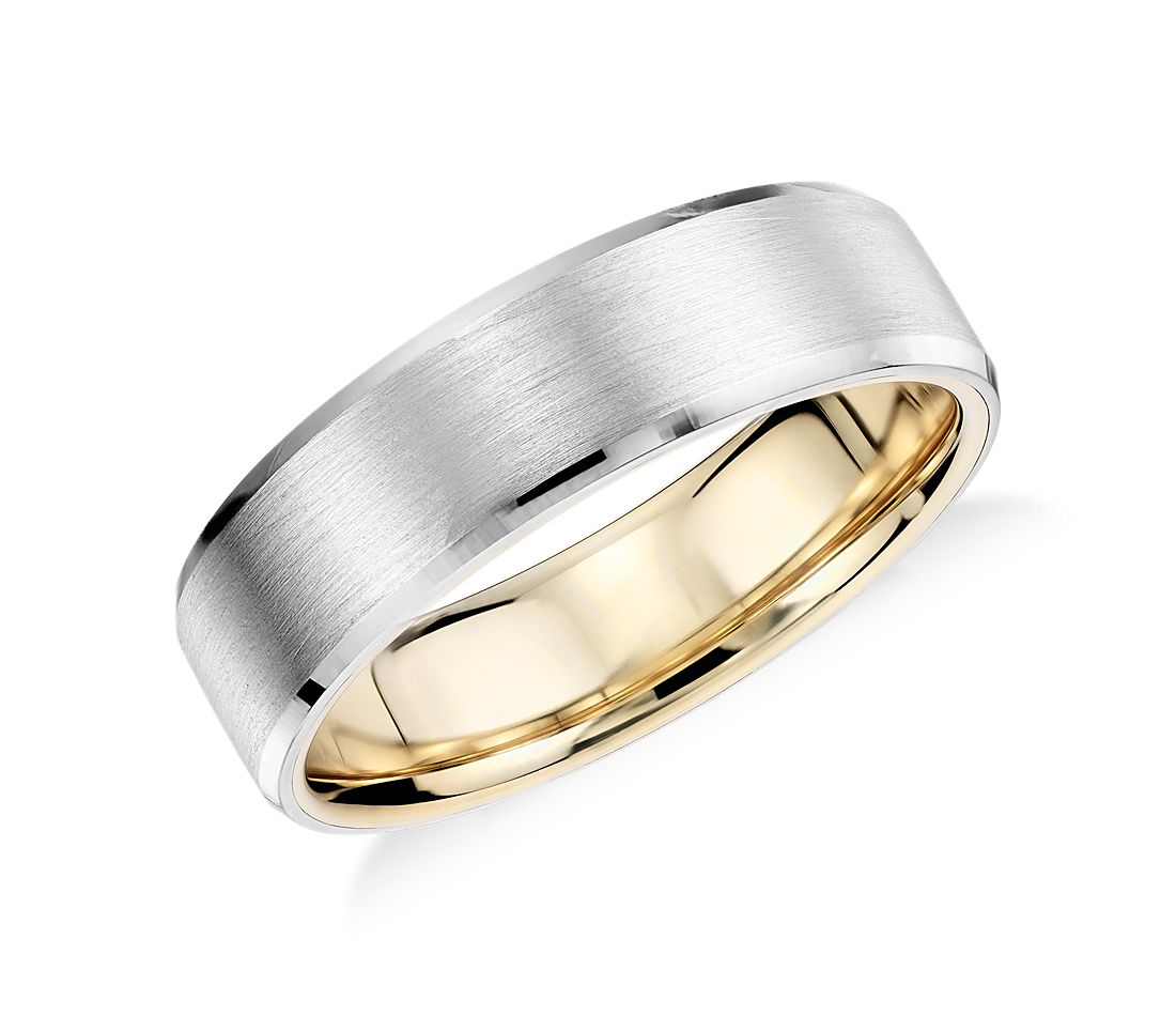 matte beveled edge wedding ring in platinum and 18k yellow