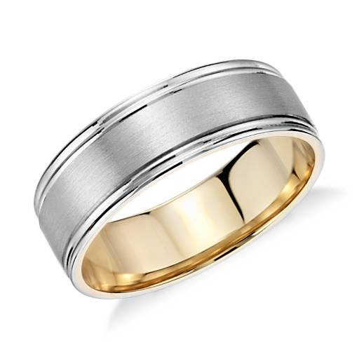 brushed wedding ring in platinum and 18k gold 6mm
