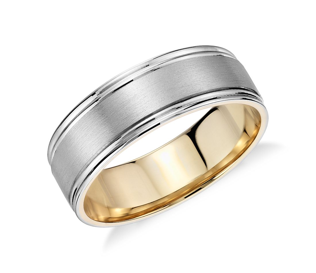 brushed inlay wedding ring in platinum and 18k yellow gold