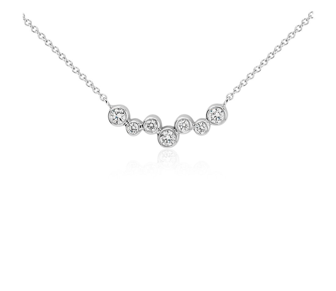 Bubble Bar Diamond Necklace in 14k White Gold