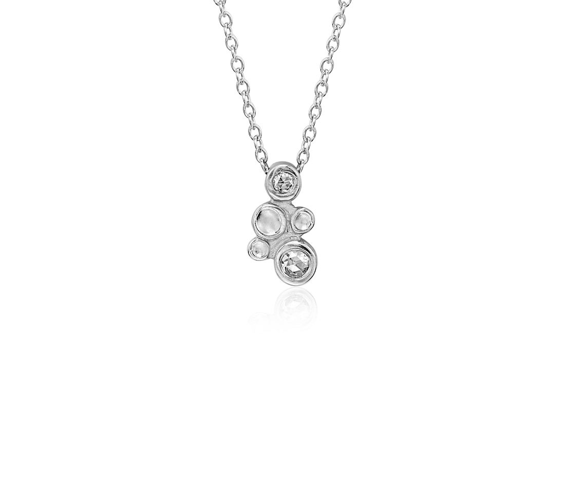 Diamond Bubble Pendant in 14k White Gold