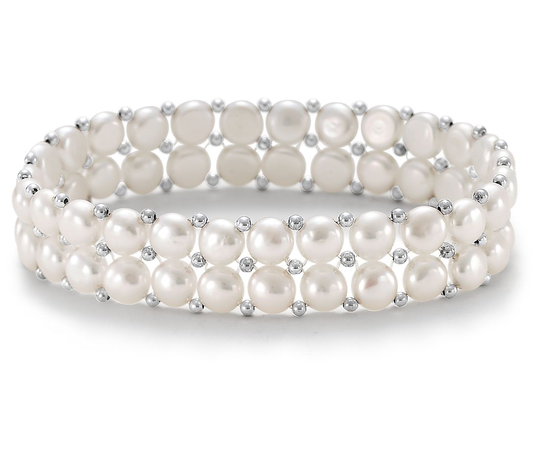 Button Freshwater Cultured Pearl Bracelet with Sterling Silver