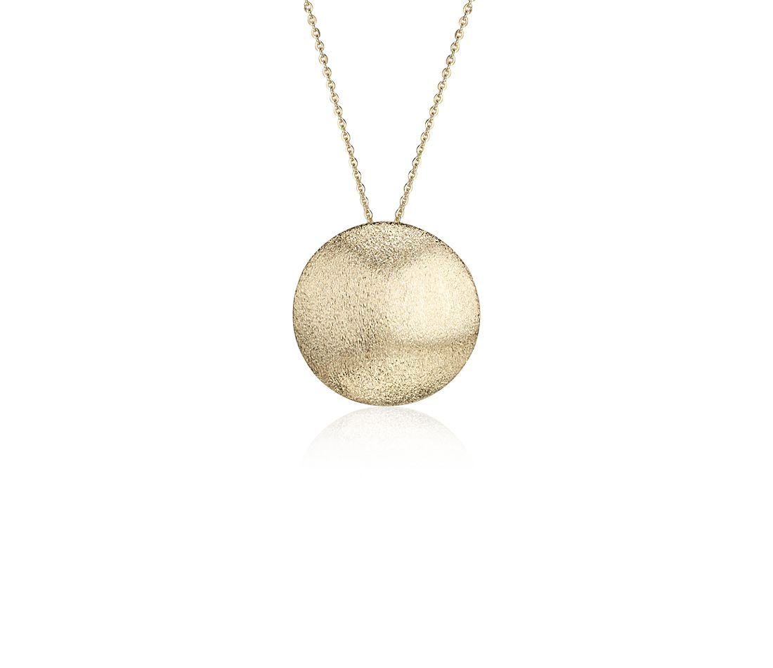 Button Pendant in Satin 14k Yellow Gold