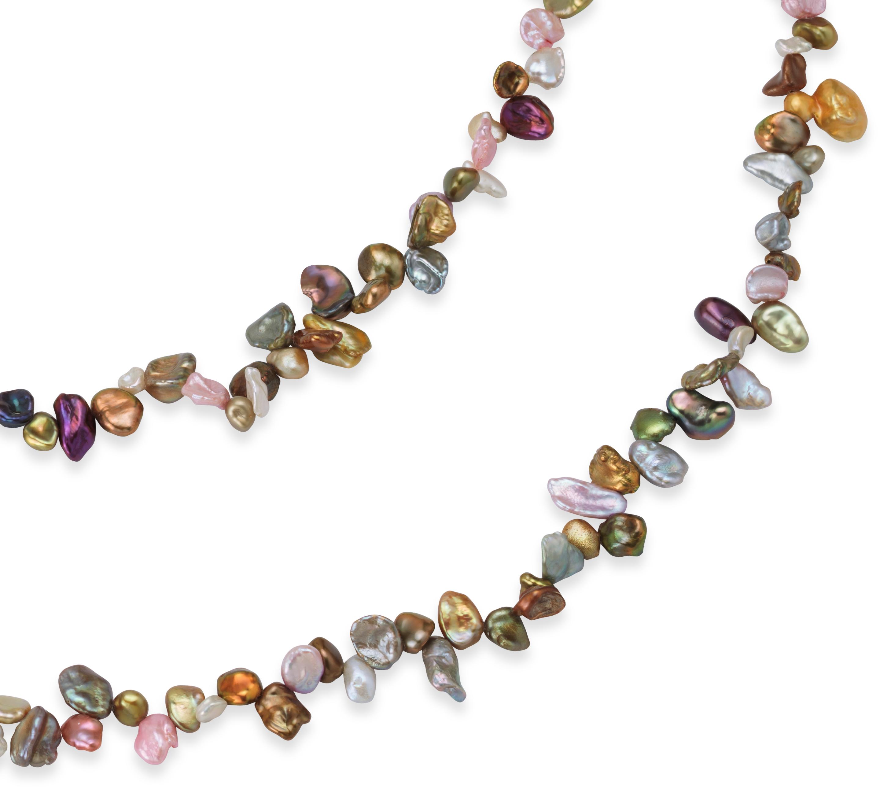 Collier de perles de culture d'eau douce de Keshi cabernet - 72