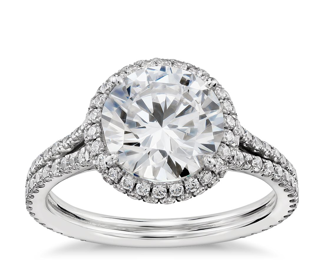 Blue Nile Studio Cambridge Halo Diamond Engagement Ring In
