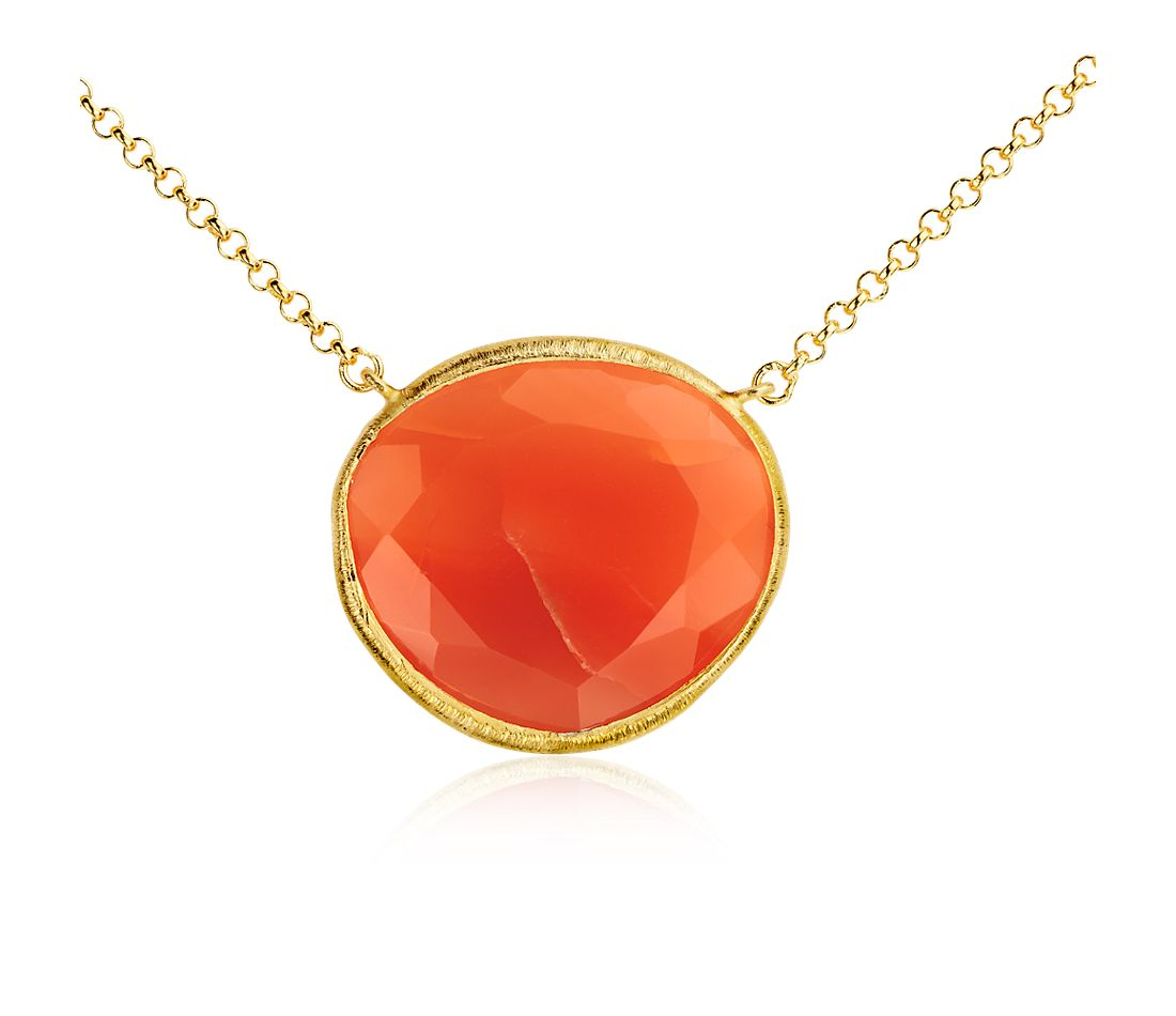 Carnelian Necklace in Gold Vermeil
