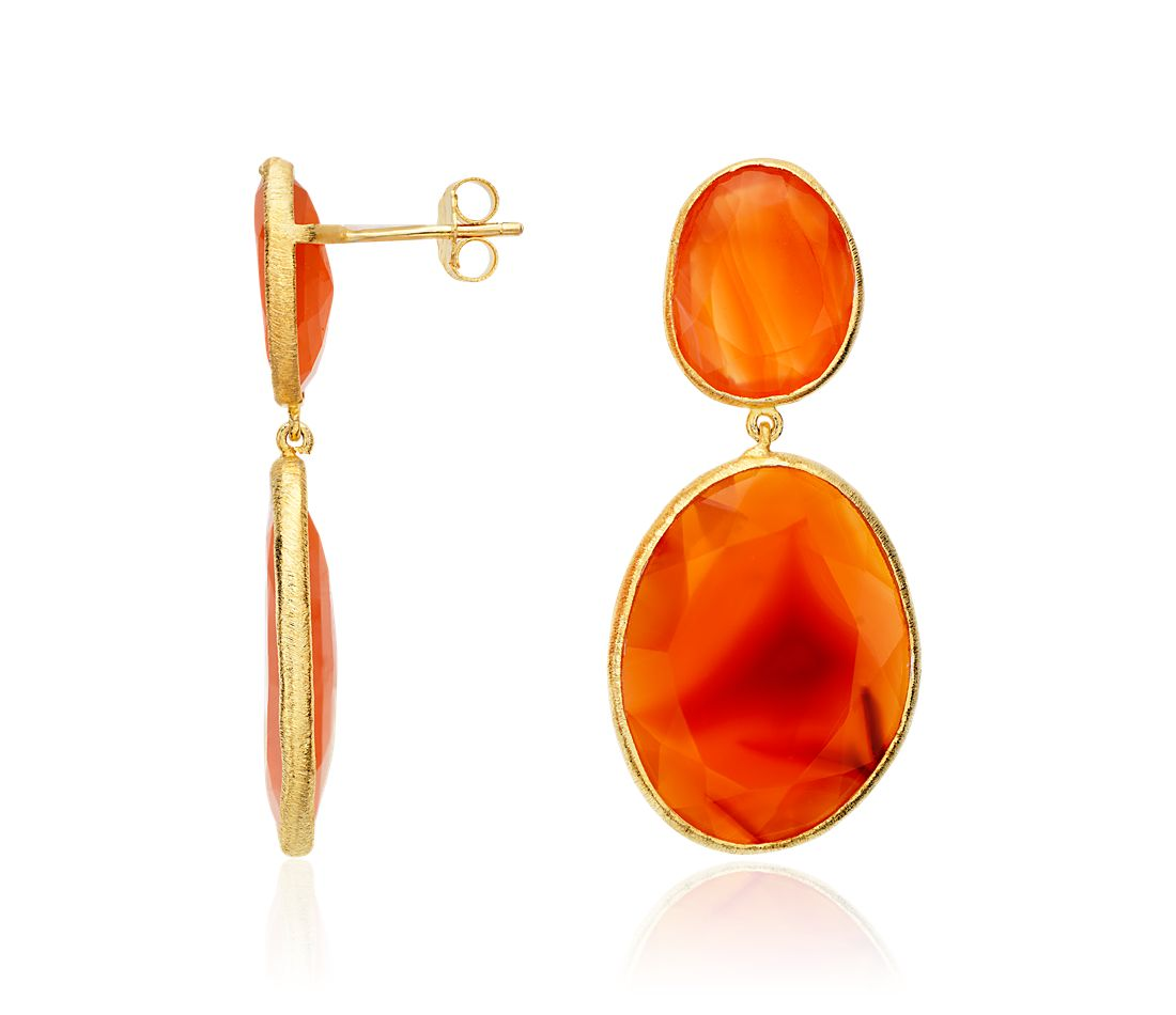 Carnelian Organic Dangle Earrings in 18k Yellow Gold Vermeil
