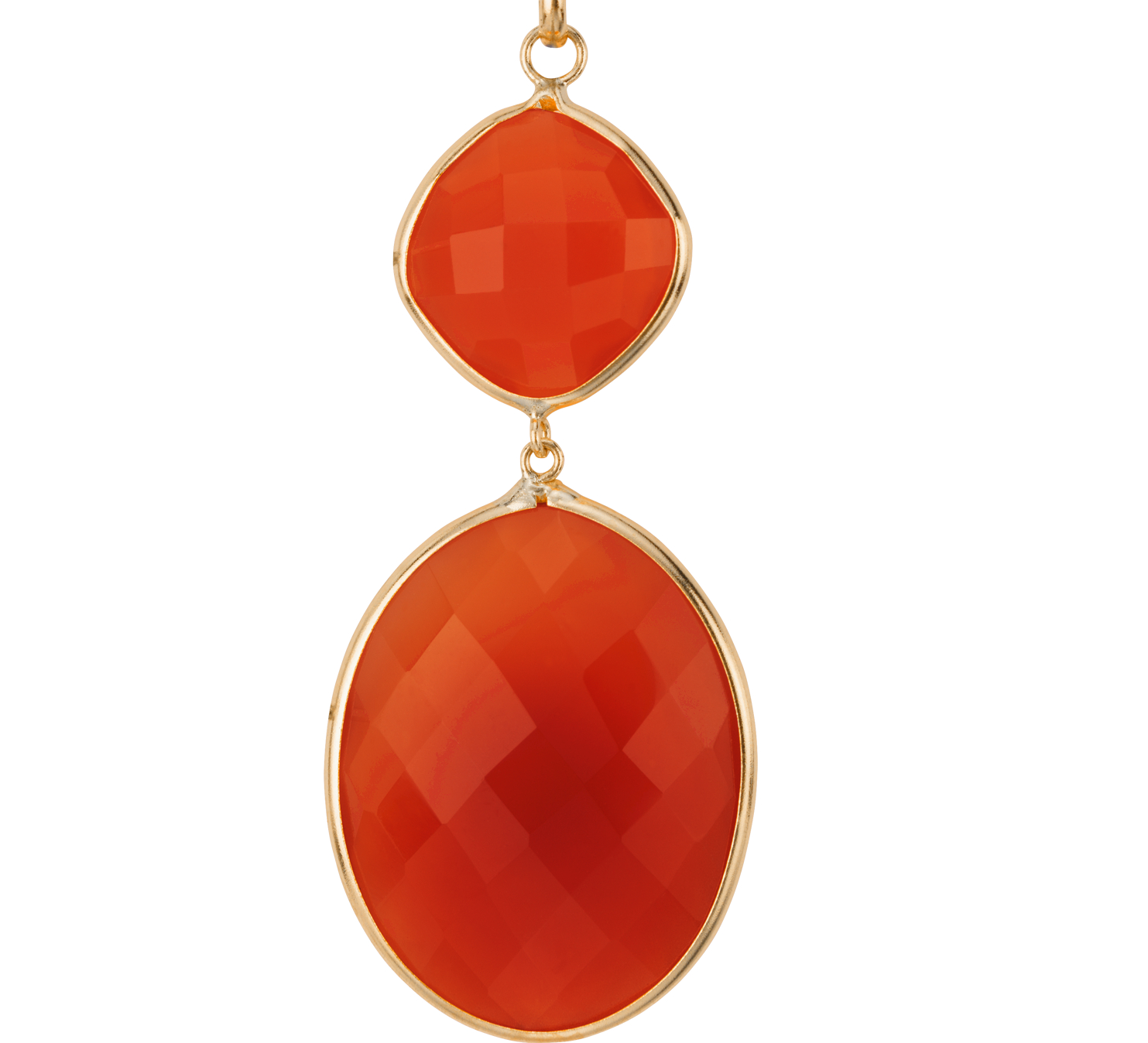Carnelian Drop Pendant in 14k Yellow gold