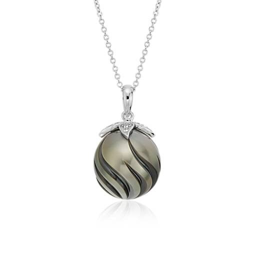 Carved Tahitian Cultured Pearl and Diamond Pendant in 14k White Gold (13mm)