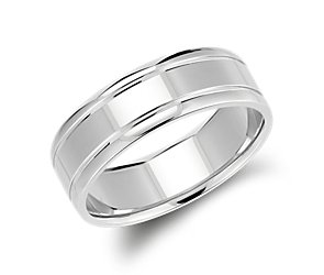 Carved Wedding Ring in 14k White Gold (7mm)