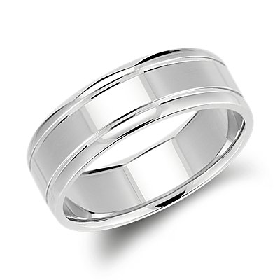 Inlay Comfort Fit Wedding Ring in 14k White Gold (7mm)