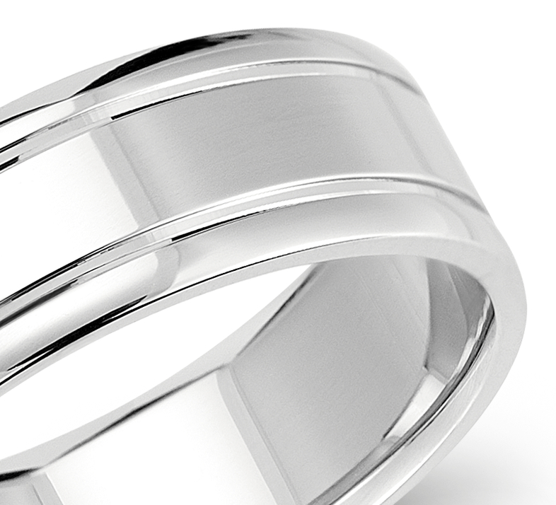 Carved Comfort Fit Wedding Ring in 14k White Gold (7mm)