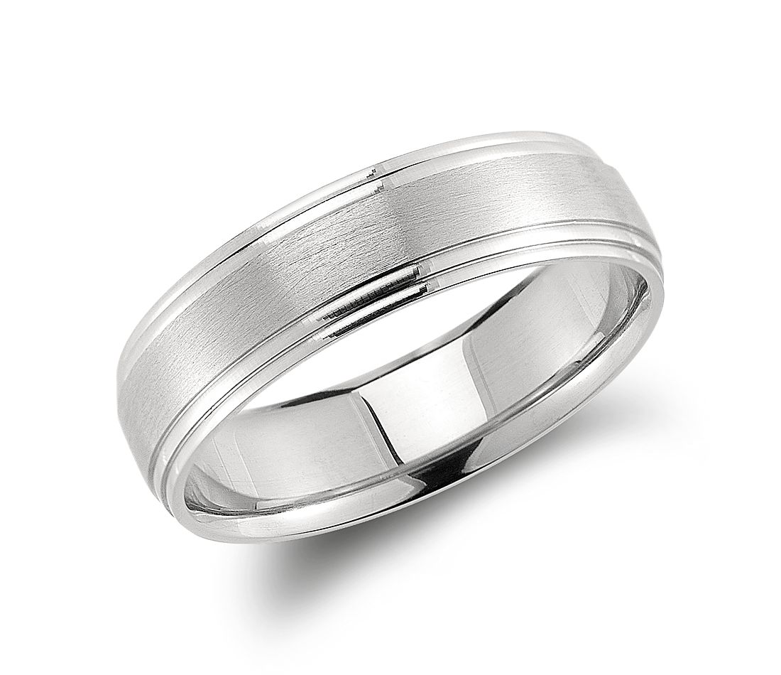 Double Cut Comfort Fit Wedding Ring in Palladium (6mm)