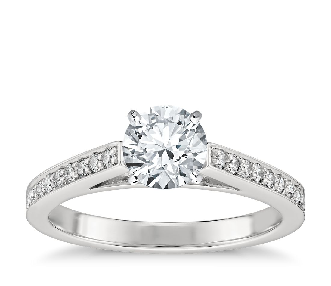 Cathedral Pave Diamond Engagement Ring in Platinum (1/5 ct. tw.)
