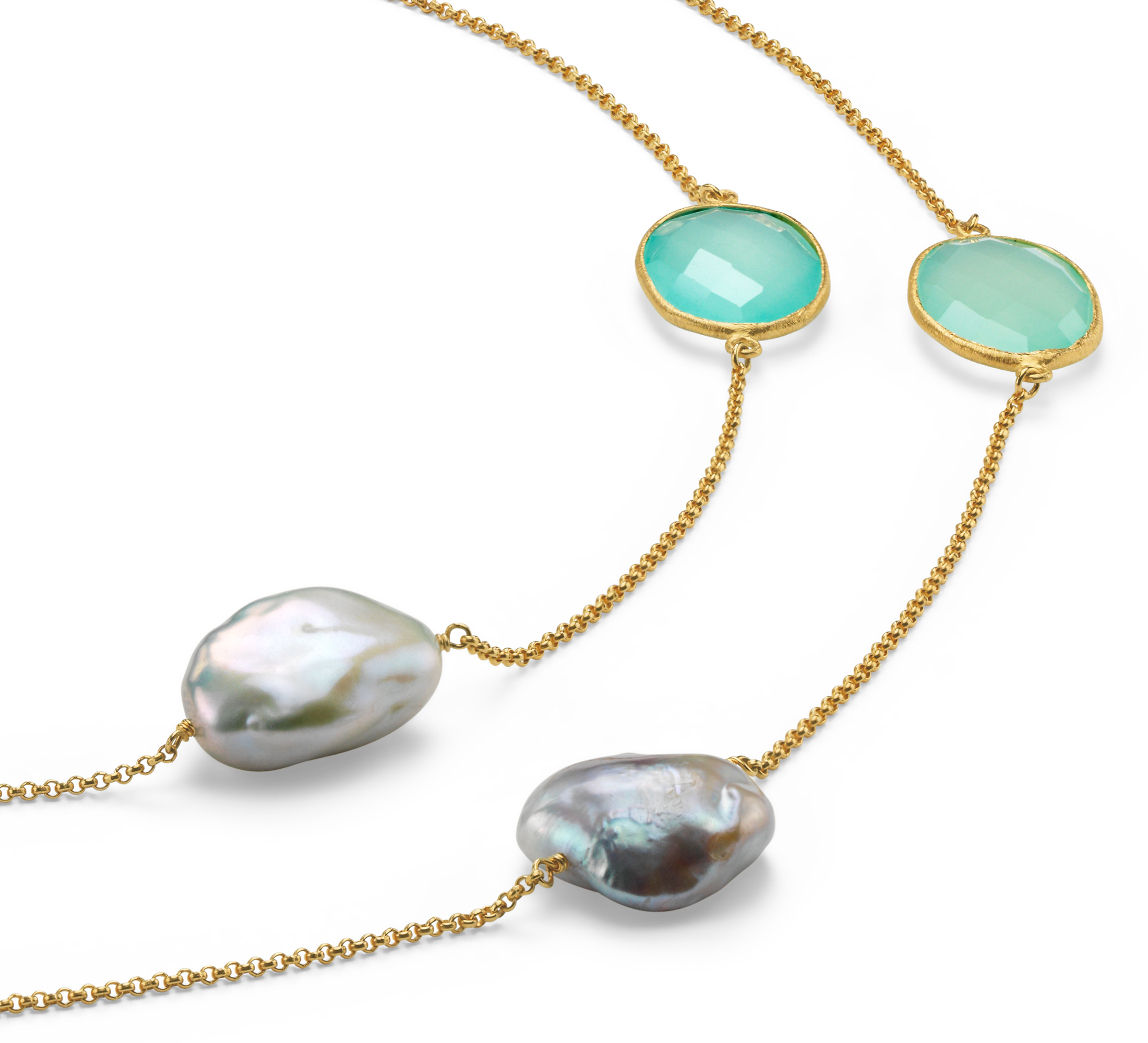 Chalcedony and Freshwater Cultured Pearl Necklace in Gold Vermeil