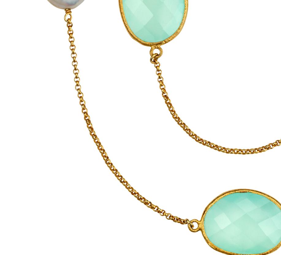 Collier calcédoines et perles de culture d'eau douce en or vermeil