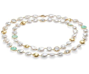 Collier en quartz blanc, calcédoine et perle d'eau douce de culture en or vermeil
