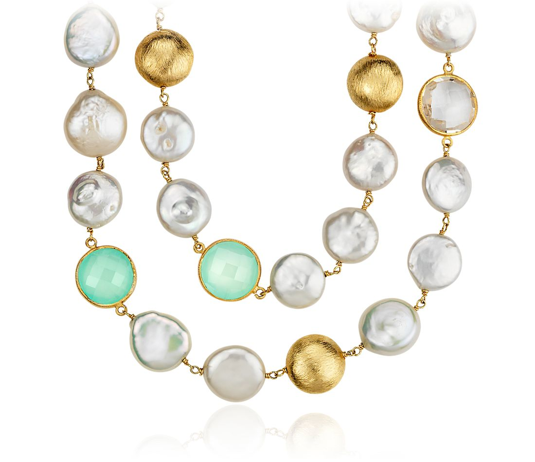 Freshwater Cultured Pearl, Chalcedony, and White Quartzl Necklace in Gold  Vermeil