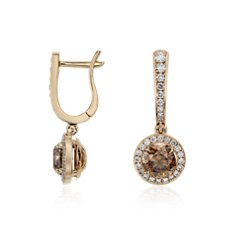 Champagne Diamond Halo Drop Earrings in 18k Rose Gold