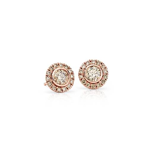 Champagne Diamond Halo Earrings in 14k Rose Gold