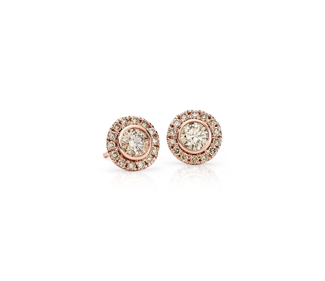 Champagne Diamond Halo Earrings in 14k Rose Gold (1 ct. tw.)