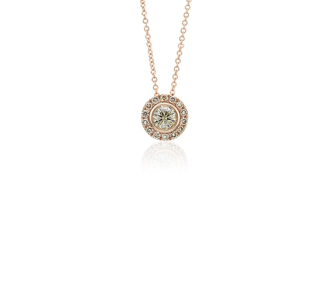 Champagne Diamond Halo Pendant in 14k Rose Gold