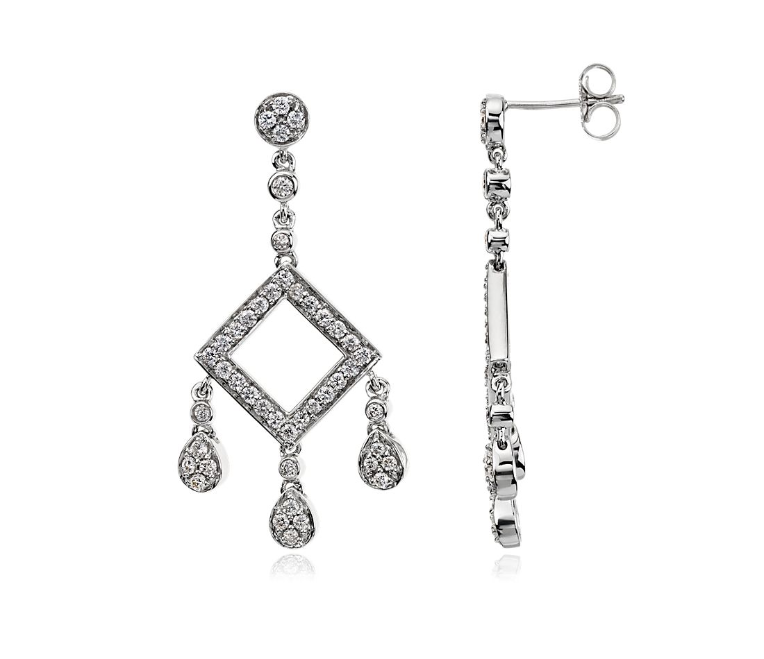 Chandelier Diamond Earrings in 14k White Gold (7/8 ct. tw.)
