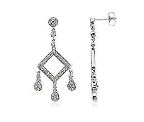 Boucles d'oreilles diamant pendeloques en or blanc 14carats (7/8carats, poids total)
