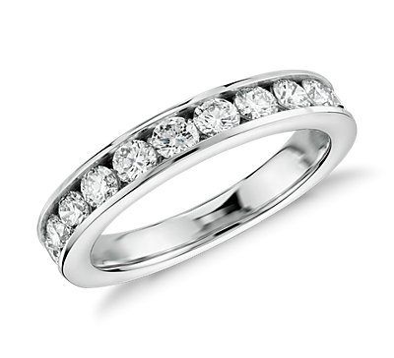 Bague diamant serti barrette en or blanc 14carats (1carat, poids total)