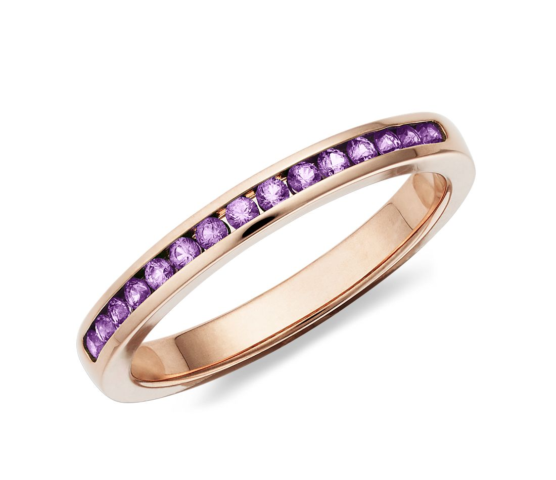 Amethyst Channel Set Ring in 14k Rose Gold