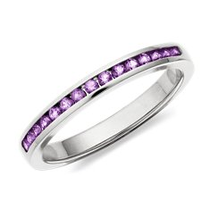 Bague améthyste serti barrette en Or blanc 14 ct