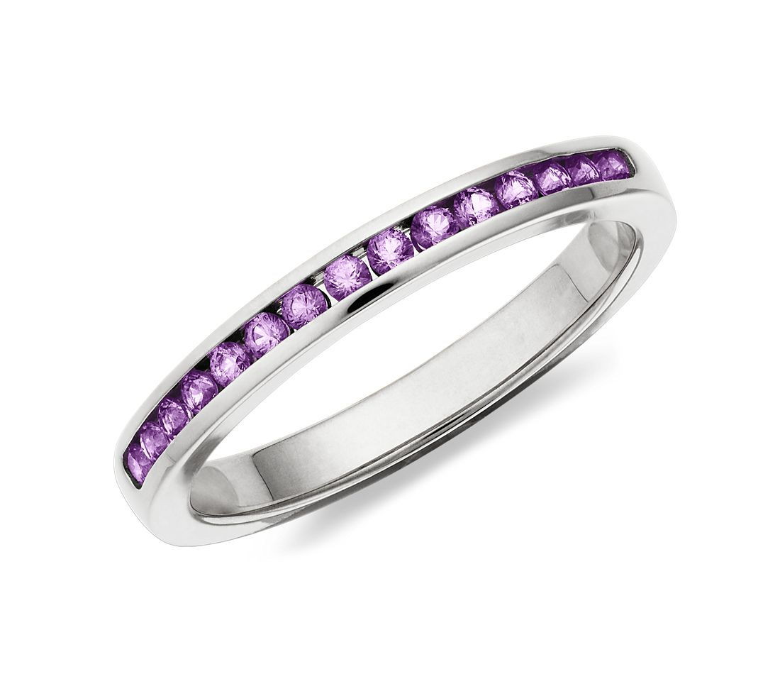 Amethyst Channel Set Ring in 14k White Gold